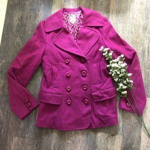 Tulle | Magenta Wool Blend Pea Coat